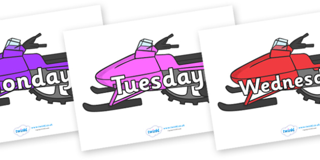 Days of the Week on Snowmobiles - Days of the Week, Weeks poster, week, display, poster, frieze, Days, Day, Monday, Tuesday, Wednesday, Thursday, Friday, Saturday, Sunday