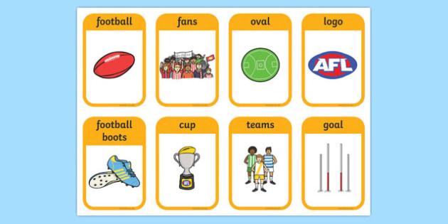 Australian Football League Flashcards - AFL, visual aid, sport