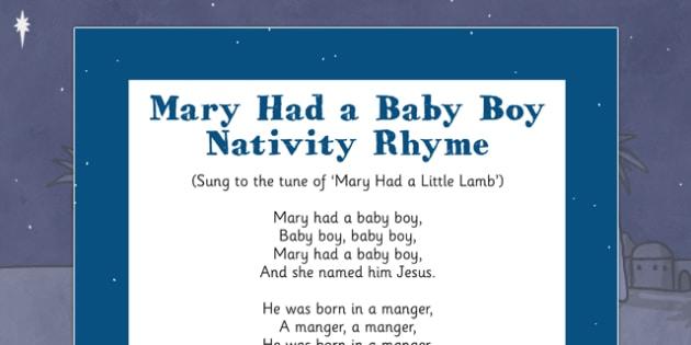 Mary Had a Baby Boy Nativity Song Rhyme - mary had a baby boy, nativity, song, rhyme