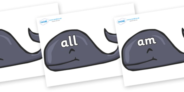 Foundation Stage 2 Keywords on Whales - FS2, CLL, keywords, Communication language and literacy,  Display, Key words, high frequency words, foundation stage literacy, DfES Letters and Sounds, Letters and Sounds, spelling