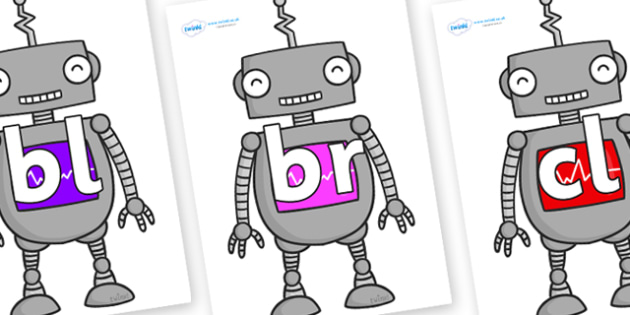 Initial Letter Blends on Robots - Initial Letters, initial letter, letter blend, letter blends, consonant, consonants, digraph, trigraph, literacy, alphabet, letters, foundation stage literacy