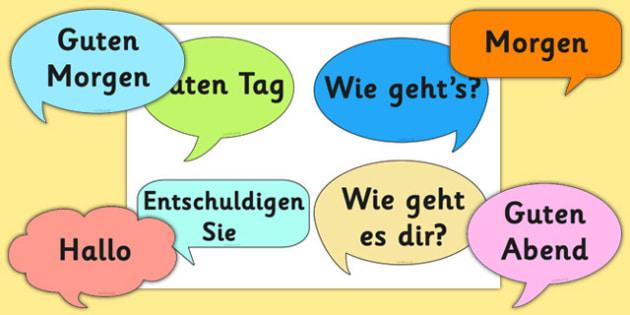 Social Greetings Prompt Cards German - german, social, greeting, prompt cards, prompt, cards