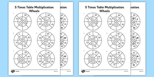 5 Times Table Multiplication Wheels Activity Sheet Pack - 5 times table, multiplication, wheels, activity, sheets, worksheet