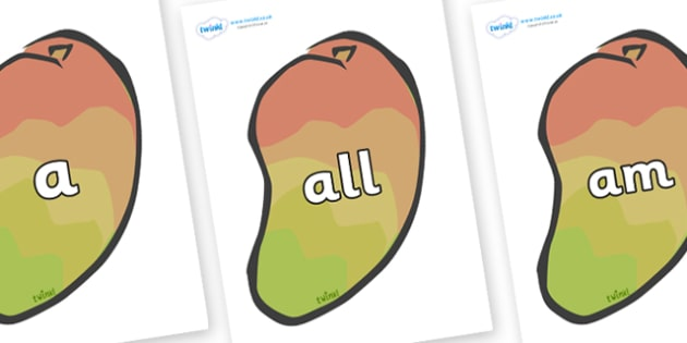 Foundation Stage 2 Keywords on Mangoes - FS2, CLL, keywords, Communication language and literacy,  Display, Key words, high frequency words, foundation stage literacy, DfES Letters and Sounds, Letters and Sounds, spelling