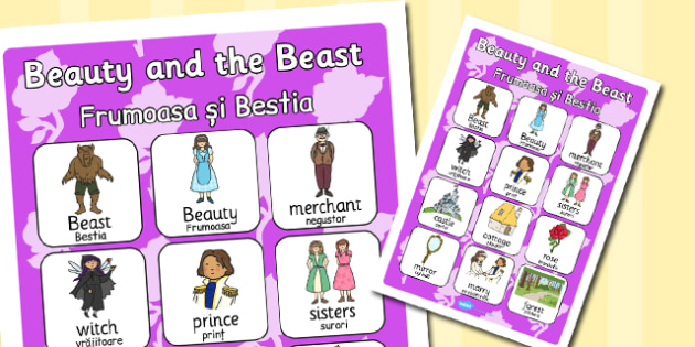 Beauty and the Beast Vocabulary Poster EAL Romanian Translation