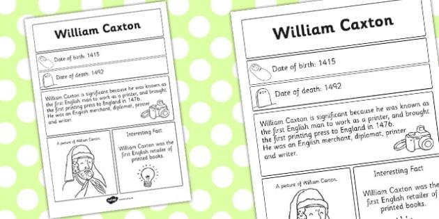 William Caxton Significant Individual Fact Sheet - fact sheet