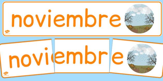 Pancarta - Noviembre - meses, otoño, mural, estaciones