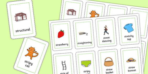 Three Syllable STR Playing Cards - sen, sound, str sound, str, three syllable, playing cards