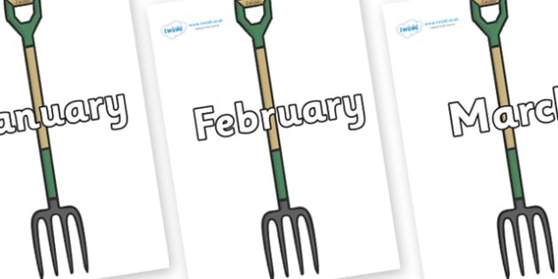 Months of the Year on Garden Forks - Months of the Year, Months poster, Months display, display, poster, frieze, Months, month, January, February, March, April, May, June, July, August, September
