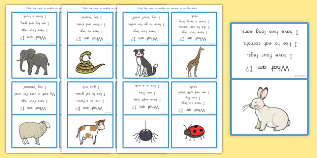 What Am I? Guessing Game Cards Animal Themed - australia, animals, SEN, language, communication, game, guessing, questions