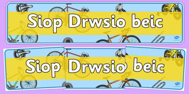 Baner Siop Trin Beic - Welsh, Wales, bicycle, foundation, display, banner, sign, bike, shop, repair, poster, languages, cymru