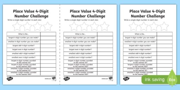 Place Value 4 Digit Number Challenge Activity Sheet-Scottish, worksheet