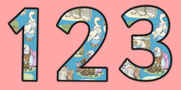 Beatrix Potter - The Tale of Tom Kitten Themed Display Numbers - beatrix potter, tom kitten