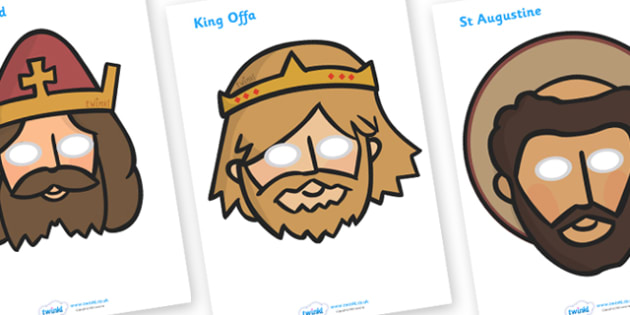 Anglo Saxons Story Role Play Masks - Anglo Saxon, Saxons, Anglo-saxon, history, role play mask, role play, Northumbria, Kent, bronze helmet, East Anglia, Bayeux Tapestry, St. Bede, Offa's Duke, jewellery, Wessex, Sutton Hoo, Kent