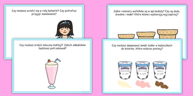 Karty z wyzwaniami Lodziarnia po polsku - odgrywanie ról