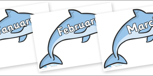 Months of the Year on Dolphins - Months of the Year, Months poster, Months display, display, poster, frieze, Months, month, January, February, March, April, May, June, July, August, September