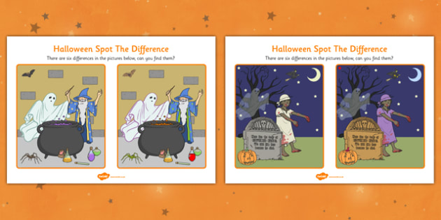Halloween Spot The Difference Activity Sheet - halloween, spot the difference, halloween games, halloween activites, themed spot the difference, themed games, wet play, worksheet