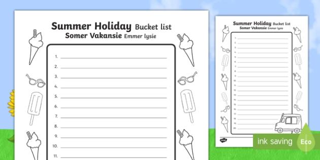 Summer Holiday Bucket List English/Afrikaans - Summer Holiday Bucket List - summer holiday, bucket list, summer, holiday, activities, summertime, T
