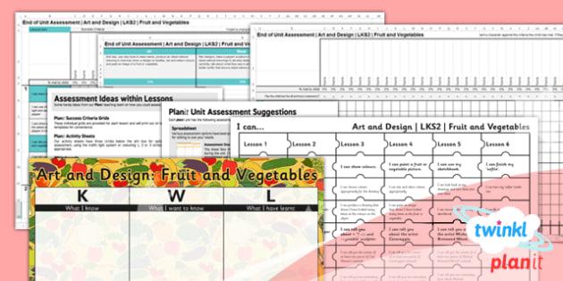 PlanIt - Art LKS2 - Fruit and Vegetables Unit Assessment Pack - planit, art, lks2, fruit and vegetables, unit, assessment, pack