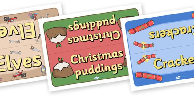 Group Table Signs (Christmas) Editable - table signs, christmas