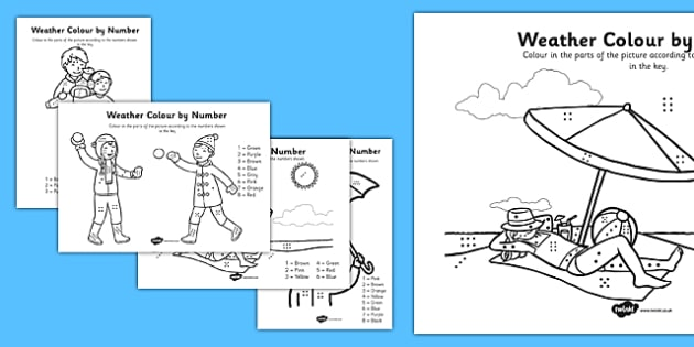Weather Colouring By Numbers Dots - weather, colouring, number dots, number, dots, colour