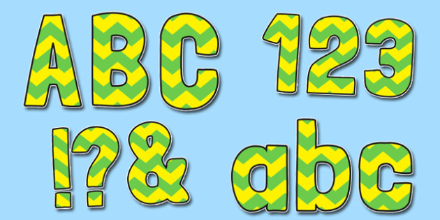 Yellow and Green Zig Zag Themed Funky Display Lettering - display lettering, display, lettering, funky