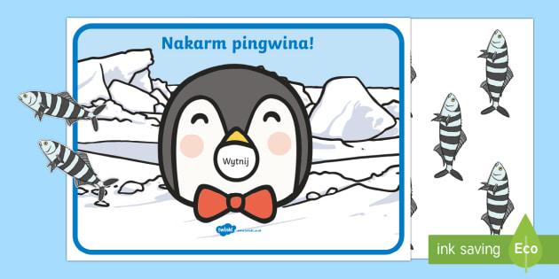 Liczenie dla najmłodszych Nakarm pingwina - pingwin, zima, foka, polarne, biegun, śnieg, styczeń, luty, marzec, matematyka, liczenie, liczby,