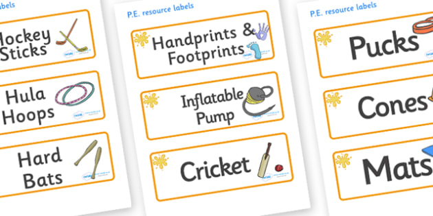 Amber Themed Editable PE Resource Labels - Themed PE label, PE equipment, PE, physical education, PE cupboard, PE, physical development, quoits, cones, bats, balls, Resource Label, Editable Labels, KS1 Labels, Foundation Labels, Foundation Stage Labe