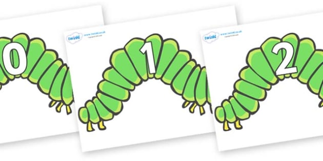 Numbers 0-31 on Hungry Caterpillars to Support Teaching on The Very Hungry Caterpillar - 0-31, foundation stage numeracy, Number recognition, Number flashcards, counting, number frieze, Display numbers, number posters