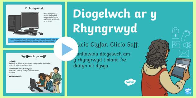 Pŵerbwynt Diogelwch ar yr Rhyngrwyd - Technoleg Gwybodaeth, rhyngrwyd, gwefan, diogelwch, Cymraeg, Iaith, Cyfnod Allweddol 2, cyfrifiadur,