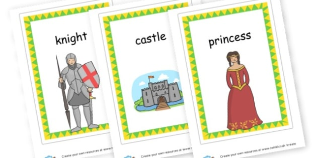 Castle Words Cards - Castles & Knights Keywords Primary Resources, signs, labels, role