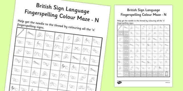 British Sign Language Left Handed Fingerspelling Colour Maze N