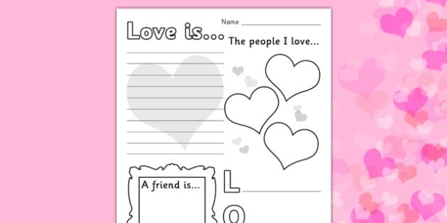 Valentines Day Worksheet - worksheets, worksheet, work sheet, valentines day, valentines, valentines worksheet, acrostic poem worksheet, people I love worksheet, sheets, activity, writing frame, filling in, writing activity