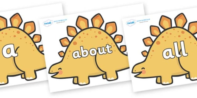 100 High Frequency Words on Stegosaurus Dinosaurs - High frequency words, hfw, DfES Letters and Sounds, Letters and Sounds, display words