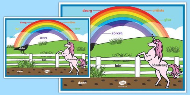 Rainbow Colours Irish A2 Display Poster