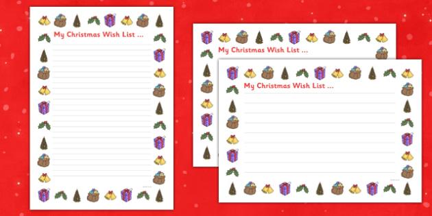 My Christmas Wish List - my christmas, wish list, christmas, wish, list, writing frame, frame