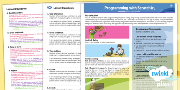 PlanIt - Computing Year 1 - Programming with ScratchJr Planning Overview CfE - PlanIt, CfE, computing, programming, instructions, games