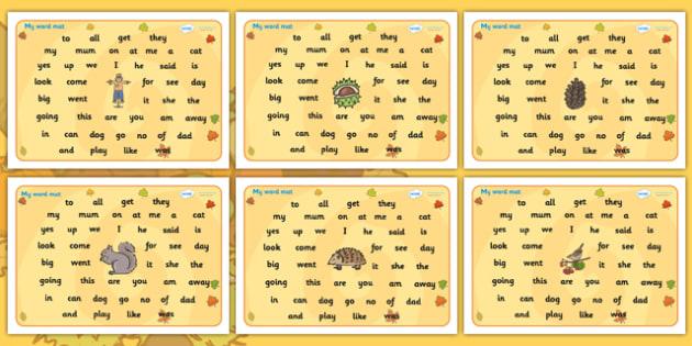 Autumn Themed FS2 Word Mat - autumn, FS2, word mat, autumn themed word mat, FS2 word mat, autumn word mat, autumn FS2 mat, mat of words, autumn mat