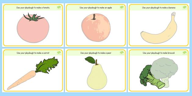 Fruit and Vegetable Playdough Mats - playdough, mats, fruit