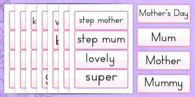 Mothers Day Word Cards - word cards, flash cards, visual aid