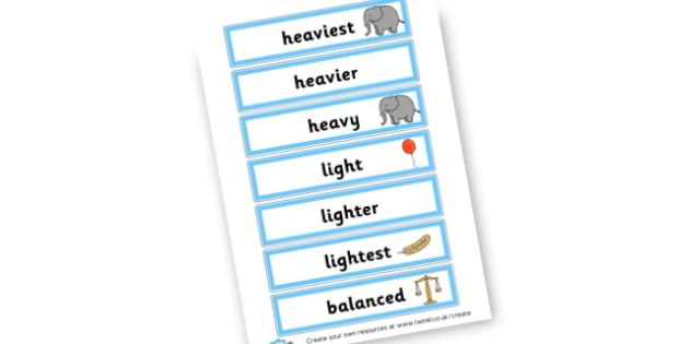 Weight Comparison Vocabulary Cards - Measuring, Size & Weight Primary Resources, shapes, shape, space