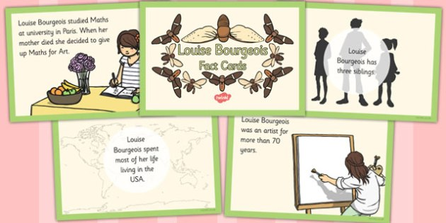 Louise Bourgeois Fact Cards - louise, bourgeois, fact, cards