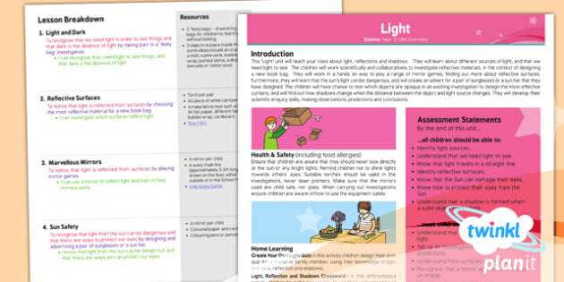 PlanIt - Science Year 3 - Light Planning Overview - planit, overview
