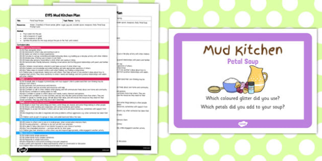 Petal Soup EYFS Mud Kitchen Plan and Prompt Card Pack - mud kitchen