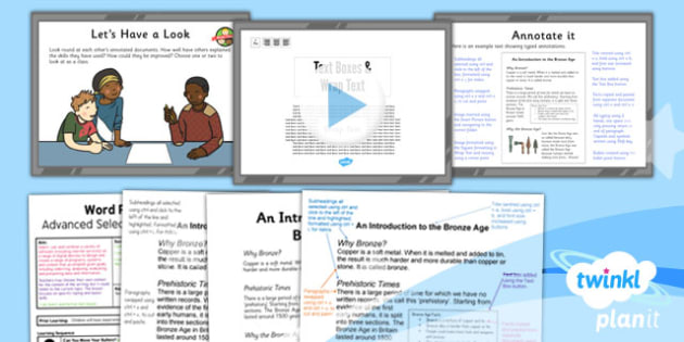 PlanIt - Computing Year 3 - Word Processing Skills Lesson 6: Text Boxes and Wrap Text Lesson Pack