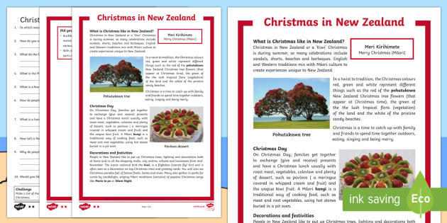 Christmas Around the World: New Zealand Differentiated Reading Comprehension Activity-Australia