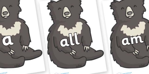 Foundation Stage 2 Keywords on Bears - FS2, CLL, keywords, Communication language and literacy,  Display, Key words, high frequency words, foundation stage literacy, DfES Letters and Sounds, Letters and Sounds, spelling