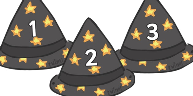 Numbers 0-30 on Wizards Hats  - Wizard, hat, foundation Numeracy, Number recognition, Number flashcards, 0-30, A4, display numbers, wizards, place valuecards
