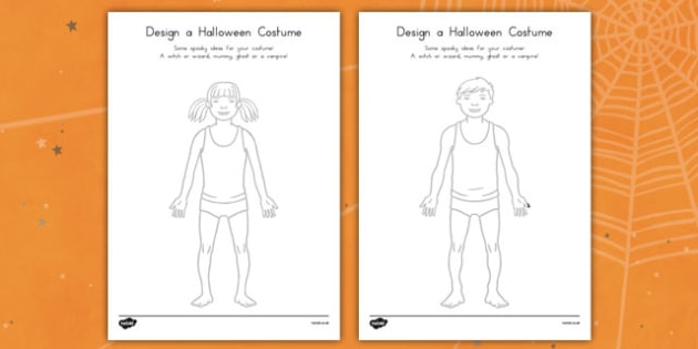 Design a Halloween Costume Worksheets - drawing, colouring, fun and games, design, art, american, us