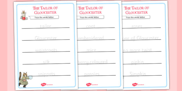 The Tailor of Gloucester Trace the Words Worksheets - tailor, gloucester